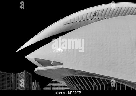 The Palau de les Arts Reina Sofia opera house in Valencia - Stock Image