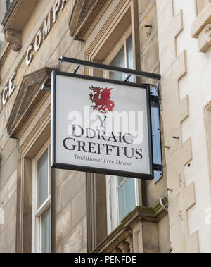 y ddraig grefftus the red griffin pub sign in Wrexham Wales June 2018 - Stock Image