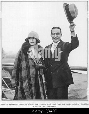 RUDOLPH VALENTINO Italian-American silent film actor with his second wife Natacha Rambova in 1923 - Stock Image