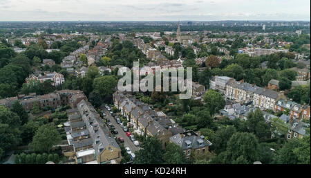Aerial view over a residential Victorian village in West London - Stock Image