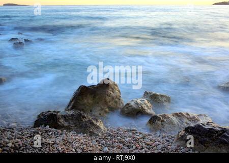 Adriatic sea coast at sunset, near Dubrovnik, Dalmatia, Croatia - Stock Image
