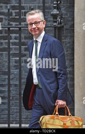 Environment Secretary Michael Gove leaves after a cabinet meeting at 10 Downing Street, London. - Stock Image