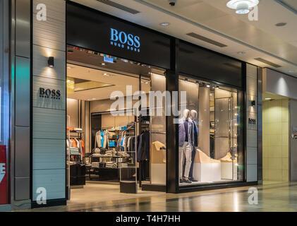 Boss Hugo Boss store front inside Westquay shopping centre, Southampton, England, UK - Stock Image