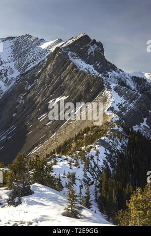 Mountain Climbing in Canadian Rockies on Rugged Mountain Ridge to Gap Peak at North Side of Bow Valley, Alberta near Banff National Park - Stock Image