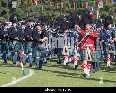 Lonach Gathering, Scotland - Aug 25, 2018: Massed Pipe Bands at the Lonach Gathering in Scotland. - Stock Image
