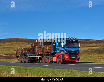 Ian Craig (Haulage) Limited, Denny, HGV with load of wooden panels. M6 Motorway Southbound carriageway, Shap, Cumbria, England, United Kingdom, Europe - Stock Image