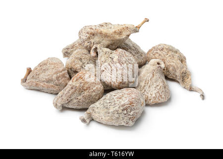 Heap of small sweet spanish dried figs isolated on white background - Stock Image