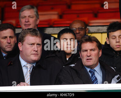 Footballer Glenn Hoddle with his brother Carl Hoddle Watford v Wolverhampton Wanderers 11 December 2004 - Stock Image