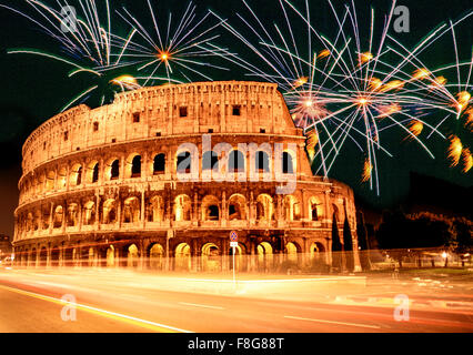 Italy, Rome,  Colloseum , fireworks, composing, new years eve, sylvester - Stock Image