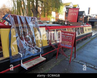 Canal Cafe Narrowboat, Chester,Cheshire,England,UK - Stock Image