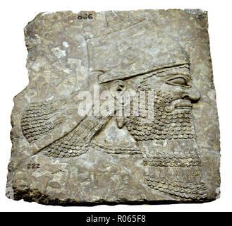 6375. Relief depicting the Assyrian King Ashurnasirpal II. Dating c. 865-860 BC. Nimrud palace, Mesopotamia. - Stock Image