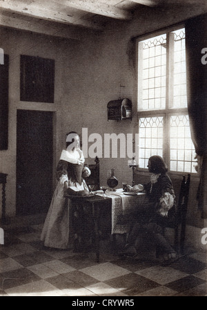 A Flemish Interior, 1908, by Guido Rey - Stock Image
