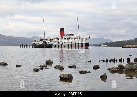 Balloch, Loch Lomond, UK. 10th Jan, 2019. UK. Attemps to remove the Maid of the Loch from Loch Lomond at Balloch today failed when the cradle which supported the ship weight snapped and the ship slipped back into the water. PS Maid of the Loch is the last paddle steamer built in Britain and was being removed for renovation and restoration purposes. - Stock Image