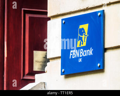 FBN Bank UK London Offices at Finsbury Circus in the City of London Financial District. FBN is the First Bank of Nigeria. - Stock Image