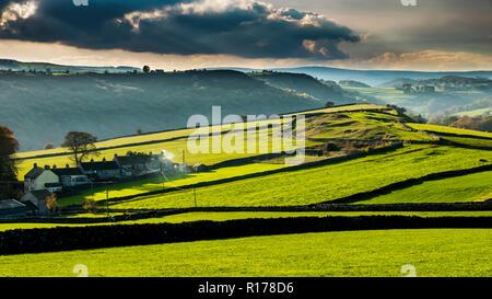 Derbyshire Peak District cottages near Cressbrook. - Stock Image
