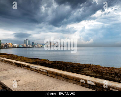 Storm clouds over the bay of Havana and the Florida Straits, from El Malecon, Havana, capital of Cuba - Stock Image