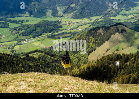 Bayrischzell, Bavaria, Germany - June 1, 2019. The cable car to Mount Wendelstein in Upper Bavaria is a tourist attraction to experience the foothills - Stock Image