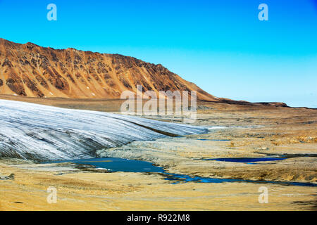 A glacier at Recherchefjorden on Western Svalbard with moraine showing the massive rate of retreat in the last 100 years.. All of Svalbards glaciers are retreating, even in the north of the archiapelago despite only being around 600 miles from the North Pole. - Stock Image