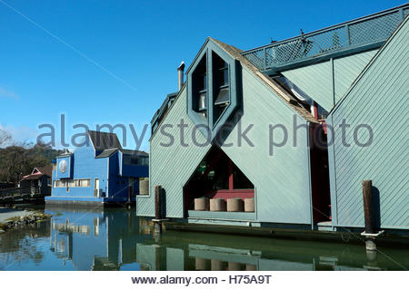 House boats in Sausalito, Marin County, California, USA. - Stock Image