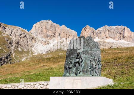Memorial to Cycling Champion Fausto Coppi, Pordoi Pass, Dolomites, Italy - Stock Image