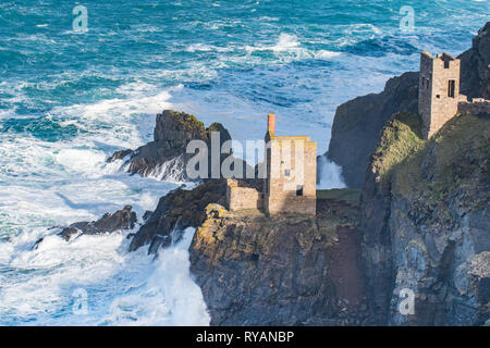 Botallack, Cornwall, UK. 13th Mar, 2019. UK Weather. Waves still pounding the north coast of Cornwall at Botallack this morning. Nearby lies the stricken French fishing vessel. Credit: Simon Maycock/Alamy Live News - Stock Image