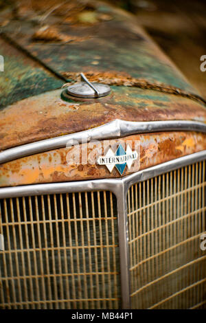 Detail: International 3 Diamond logo above the grill of an antique 1936 International truck, in Noxon, Montana.  This image was shot with an antique P - Stock Image
