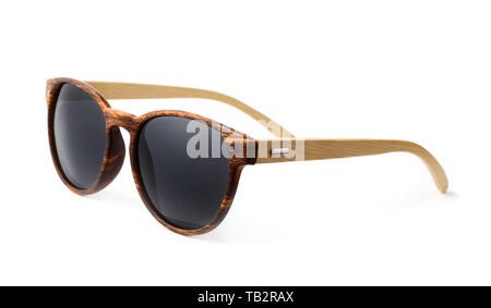 Wooden sunglasses isolated on white - Stock Image