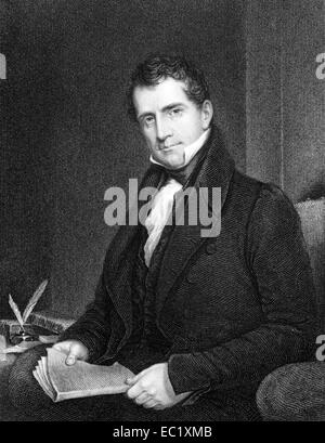 Theodric Romeyn Beck (1791-1855) on engraving from 1834. American physician. - Stock Image