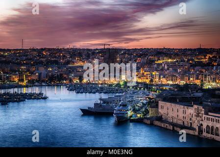Malta: Manoel Island, Il-Gzira and Marsans Harbour - Stock Image