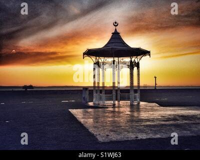 Sunset behind Bandstand, West Battery Gardens, Southsea, Portsmouth, Hampshire, England, UK - Stock Image