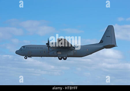 A Norwegian Super Hercules C130J-30 pays a visit to the RAF base at Lossiemouth in Morayshire North East Scotland - Stock Image