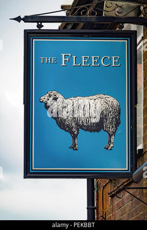 Independent Public House sign The Fleece in Church Street Whitby North Yorkshire - Stock Image