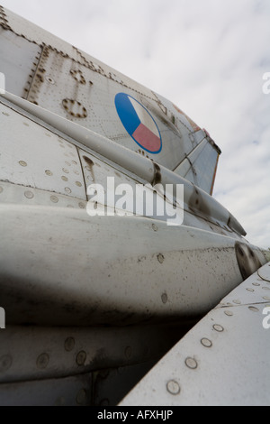 Aluminium MiG-21 retired aircraft, tail section, ex Czech Air Force - Stock Image
