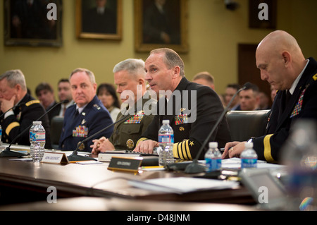 CNO Adm. Greenert testifies about sequestration. - Stock Image