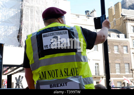 Yellow vests UK joined a pro brexit protest in UK - Stock Image