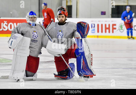 Bratislava, Slovakia. 12th May, 2019. Czech ice hockey players L-R Pavel Francouz and Patrik Bartosak are seen during a training session of the Czech national team within the 2019 IIHF World Championship in Bratislava, Slovakia, on May 12, 2019, one day prior to the match against Russia. Credit: Vit Simanek/CTK Photo/Alamy Live News - Stock Image