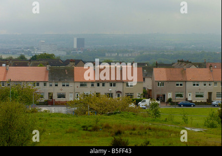 General View of the town of Bellshill in South Lanarkshire Scotland  Housing estates in the town - Stock Image