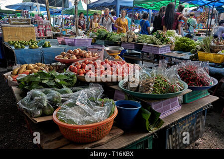 Fruit and vegetable stall, Thailand food market, Pattaya, Southeast Asia - Stock Image