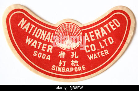 Peacock Brand Soda Water Chinese drink label from the National Aerated Water Company Ltd, Singapore in the 1940s - Stock Image