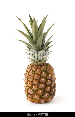 Ripe and juicy pineapple isolated on white background. - Stock Image