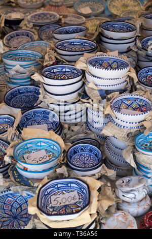 Typical traditional ceramic bowls on sale with prices in euros at the old street market - Mercado -  in Ortigia, Syracuse, Sicily - Stock Image