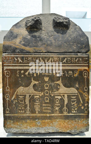 Egyptian hieroglyph table. Altes Museum, Berlin - Stock Image