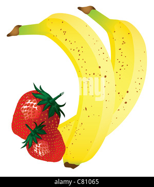 banana and strawberry vector illustration - Stock Image