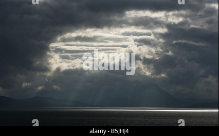 General view of sunlight reflected on the sea at Applecross Wester Ross Picture by Ashley Coombes/Epicscotland - Stock Image