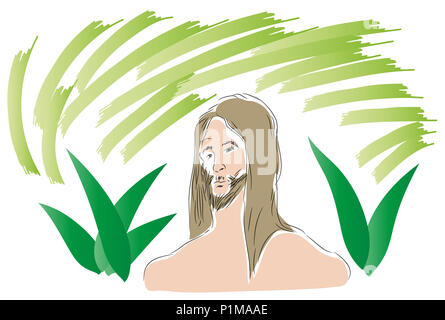 Head of Tarzan.  illustration of Tarzan looking at us with plant leaf  background. - Stock Image