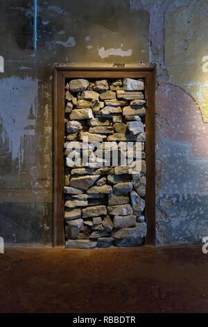 Jannis Kounellis door, sculpture, installation, Palazzo Fortuny museum, Venice - Stock Image