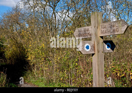Rail trail signpost between Grosmont and Goathland North York Moors National Park North Yorkshire England UK United Kingdom GB Great Britain - Stock Image