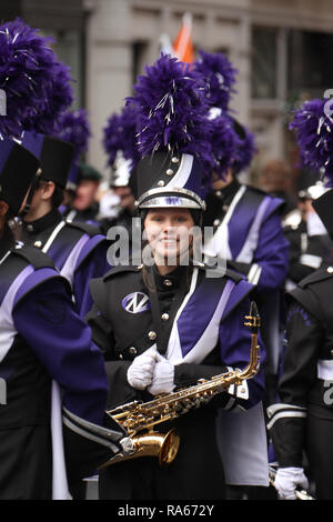 London, UK. 1st January, 2019. Memebers of the Trojan Marching Band from Downers grove, Illinois  ahead of the New  Year Parade. About 8,000 performers representing the London boroughs and over 20 countries from across the globe take part on the annual New Years Parade on the street of London. The parade run from Green Park Tube station to Parliament Square. Photo credit:  David Mbiyu/Alamy New Live - Stock Image