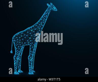 Giraffe low poly model, African animal abstract graphics, mammal polygonal wireframe vector illustration on dark blue background - Stock Image
