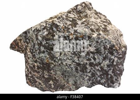 Scapolite-hornblende rock (metamorphosed gabbro). Scapolite (variety marialite) is gray, hornblende black. - Stock Image